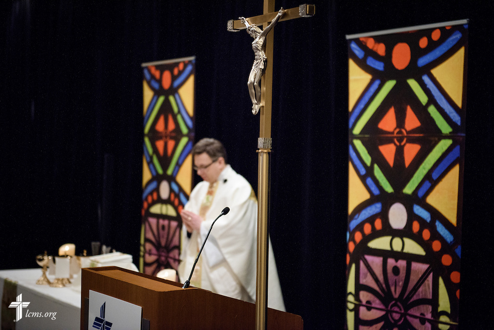 The Rev. Christopher Esget, LCMS sixth vice-president and pastor of Immanuel Evangelical-Lutheran Church, Alexandria, Va., leads worship on Friday, Jan. 27, 2017, in Arlington, Va. LCMS Communications/Erik M. Lunsford