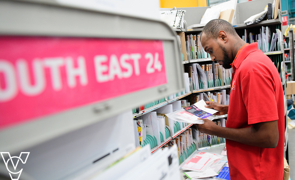 Royal Mail stock photography of mail redirection at Leicester South Delivery Office.  Pictured is Sharn Graham sorting out mail for redirection.<br /> <br /> Picture: Chris Vaughan Photography<br /> Date: July 7, 2017