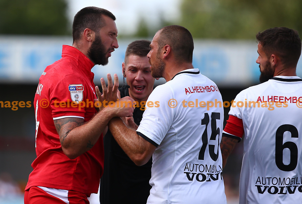 Crawley's Ollie Palmer reacts after being fouled during the pre season friendly between Crawley Town and KSV Roeselare at The Broadfield Stadium, Crawley , UK. 28 July 2018.