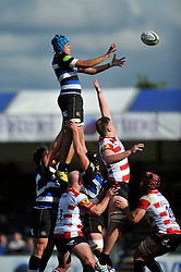 Zach Mercer of Bath Rugby rises high to win lineout ball - Mandatory byline: Patrick Khachfe/JMP - 07966 386802 - 13/09/2015 - RUGBY UNION - Memorial Stadium - Bristol, England - Gloucester Rugby v Bath Rugby - West Country Challenge Cup.