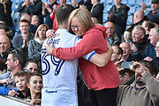 Bury Forward, Ryan Lowe (39) and a Bury fan after the EFL Sky Bet League 1 match between Bury and Northampton Town at the JD Stadium, Bury, England on 22 April 2017. Photo by Mark Pollitt.