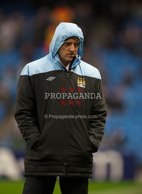 MANCHESTER, ENGLAND - Wednesday, February 22, 2012: Manchester City's manager Roberto Mancini before the UEFA Europa League Round of 32 2nd Leg match against FC Porto at City of Manchester Stadium. (Pic by David Rawcliffe/Propaganda)