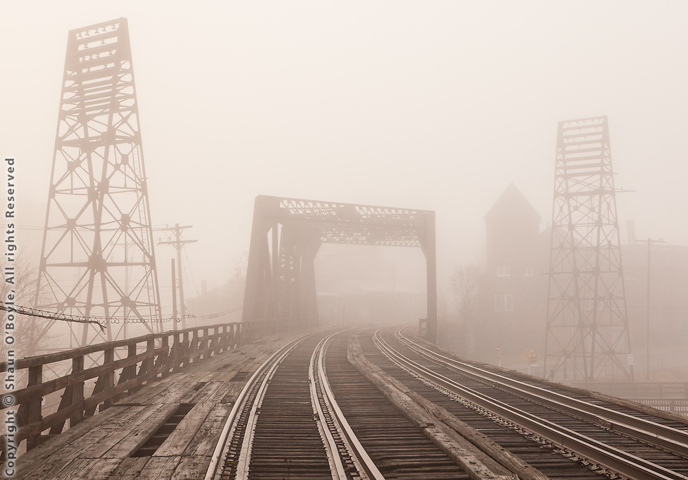 Rail Bridge in Fog, Holyoke, MA