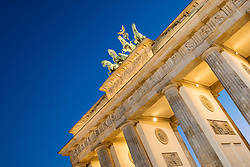 Brandenburg Gate in the evening in Berlin Germany