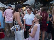 EMILY SHEFFIELD; VICTORIA BECKHAM; ROSAMUND PIKE, Alex Shulman goodbye party. Dock Kitchen, Ladbroke Grove. London. 22 June 2017