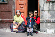 Turkish women and child in a street in Istanbul, Turkey