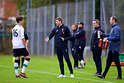 LONDON, ENGLAND - Saturday, November 4, 2017: Liverpool's Under-18 manager Steven Gerrard and substitute Liam Millar during the Under-18 Premier League Cup Group D match between West Ham United FC and Liverpool FC at Little Heath. (Pic by David Rawcliffe/Propaganda)