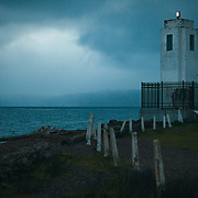 Browns Point Lighthouse in early stormy evening - Tacoma, WA