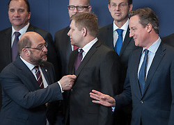 (L-R) Martin Schulz, the president of the European Parliament and British Prime Minister David Cameron during family photo at the first day of EU leaders summit on migration at European Council headquarters in Brussels, Belgium on 17.03.2016. EXPA Pictures © 2016, PhotoCredit: EXPA/ Photoshot/ Wiktor Dabkowski<br /> <br /> *****ATTENTION - for AUT, SLO, CRO, SRB, BIH, MAZ, SUI only*****