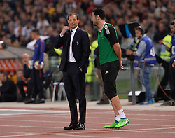 May 13, 2018 - Rome, Italy - Massimiliano Allegri and Gianluigi Buffon during the Italian Serie A football match between A.S. Roma and FC Juventus at the Olympic Stadium in Rome, on may 13, 2018. (Credit Image: © Silvia Lore/NurPhoto via ZUMA Press)