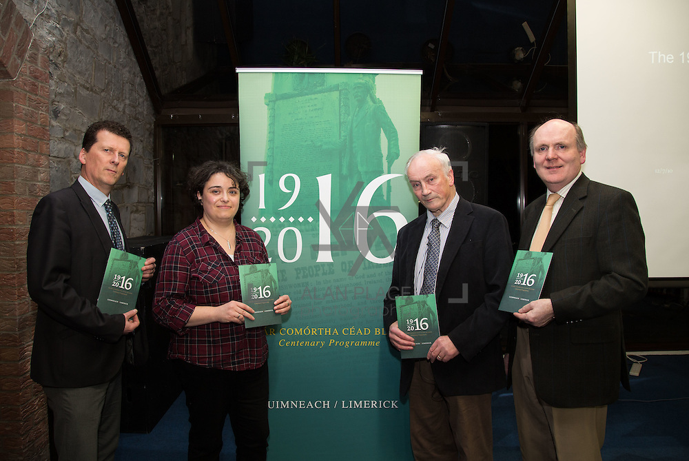 27.01.2016<br /> The Limerick City Library kicked off its series of lectures to mark the centenary of the 1916 Rising with a talk by Tom Toomey, author of the acclaimed 'The War of Independence in Limerick'.<br /> Attending the event were, Tony Storan, , Tom Toomey and Damien Brady. Picture: Alan Place