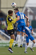 Hartlepool United midfielder Lewis Hawkins and Ashley Hemmings (Midfielder) Dagenham & Redbridge compete for the high ball during the Sky Bet League 2 match between Hartlepool United and Dagenham and Redbridge at Victoria Park, Hartlepool, England on 12 March 2016. Photo by George Ledger.
