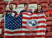 USA fans during the HSBC World Rugby Sevens Series, Singapore, Cup Final match USA -V- Canada  at The National Stadium, Singapore on Sunday, April 16, 2017. (Steve Flynn/Image of Sport)