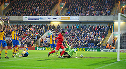 MANSFIELD, ENGLAND - Sunday, January 6, 2013: Liverpool's Luis Alberto Suarez Diaz rounds goalkeeper Alan Marriott to score the second goal against Mansfield Town, with the ball hitting his right arm, but no hand-ball was given as the referee deemed it not deliberate, during the FA Cup 3rd Round match at Field Mill. (Pic by David Rawcliffe/Propaganda)
