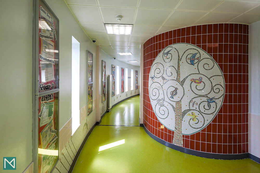 A corridor at Bishop Challoner Catholic Federation of Schools