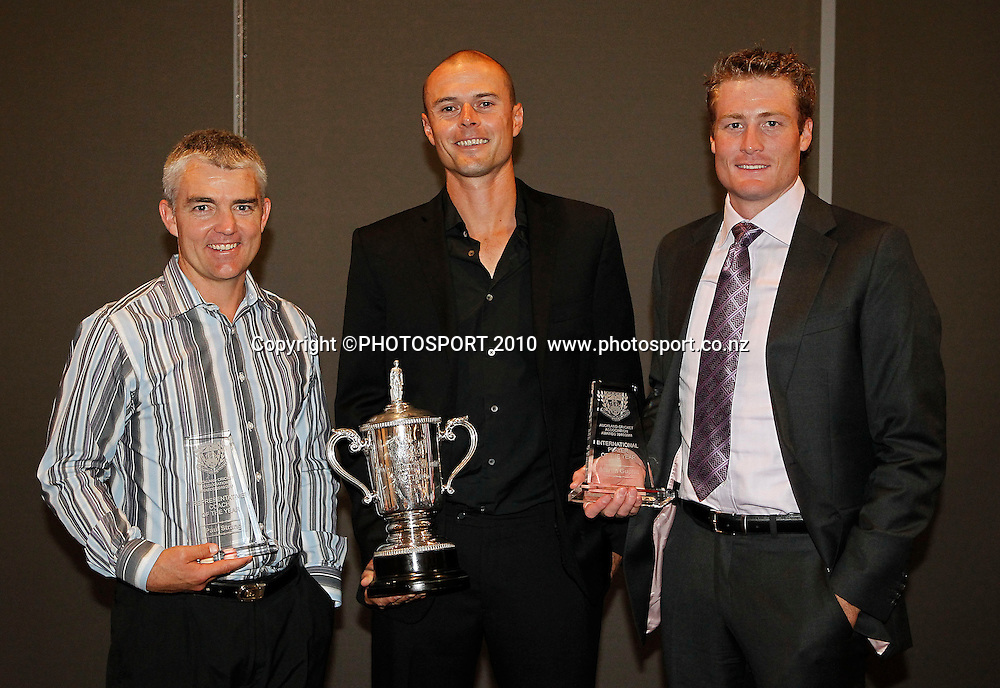 Paul Strang (Coach of the Year), Chris Martin (Bowler and Cricketer of the Year) and Martin Guptill (International Player of the Year). Auckland Cricket Awards Dinner, Eden Park South Stand, Thursday 14 April 2011. Photo: Simon Watts/photosport.co.nz