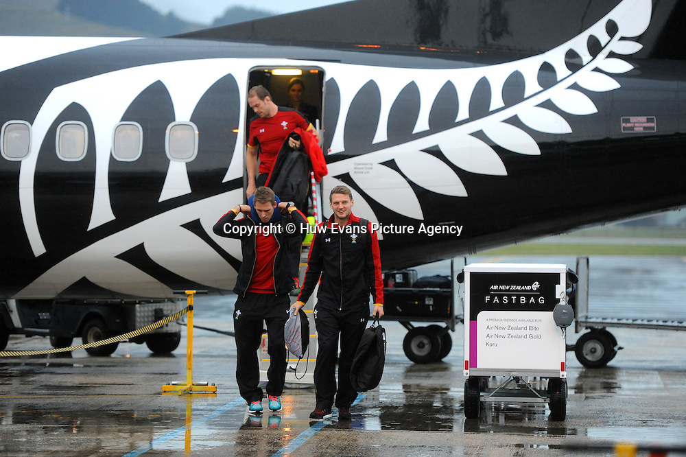 23.06.16 - Wales Rugby Arrival in Dunedin -<br /> Alun Wyn Jones, Liam Williams and Dan Biggar arrive in Dunedin.