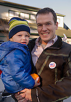 "Garrett and August Colgan   Meredith, NH.  Garrett said ""I'm excited to vote, happy with one candidate"".  Voted for Hillary Clinton.  (Karen Bobotas/for the Laconia Daily Sun)"