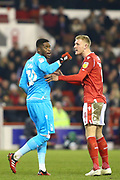 Nottingham Forest defender Joe Worrall  has to calm down his team mate \Nottingham Forest goalkeeper Brice Samba during the EFL Sky Bet Championship match between Nottingham Forest and Millwall at the City Ground, Nottingham, England on 6 March 2020.