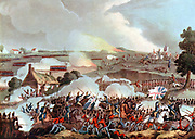 Centre of the British army in action at Waterloo 18 June 1815, the last battle of the Napoleonic Wars. After W Heath.