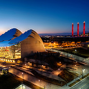 Downtown Kansas City's Kauffman Center for the Performing Arts and the Convention Center at dusk