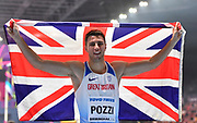 Andrew Pozzi (GBR) celebrates winning gold in the Mens 60m Hurdles Final in a seasons best time of 7.46 during the final session of the IAAF World Indoor Championships at Arena Birmingham in Birmingham, United Kingdom on Saturday, Mar 2, 2018. (Steve Flynn/Image of Sport)