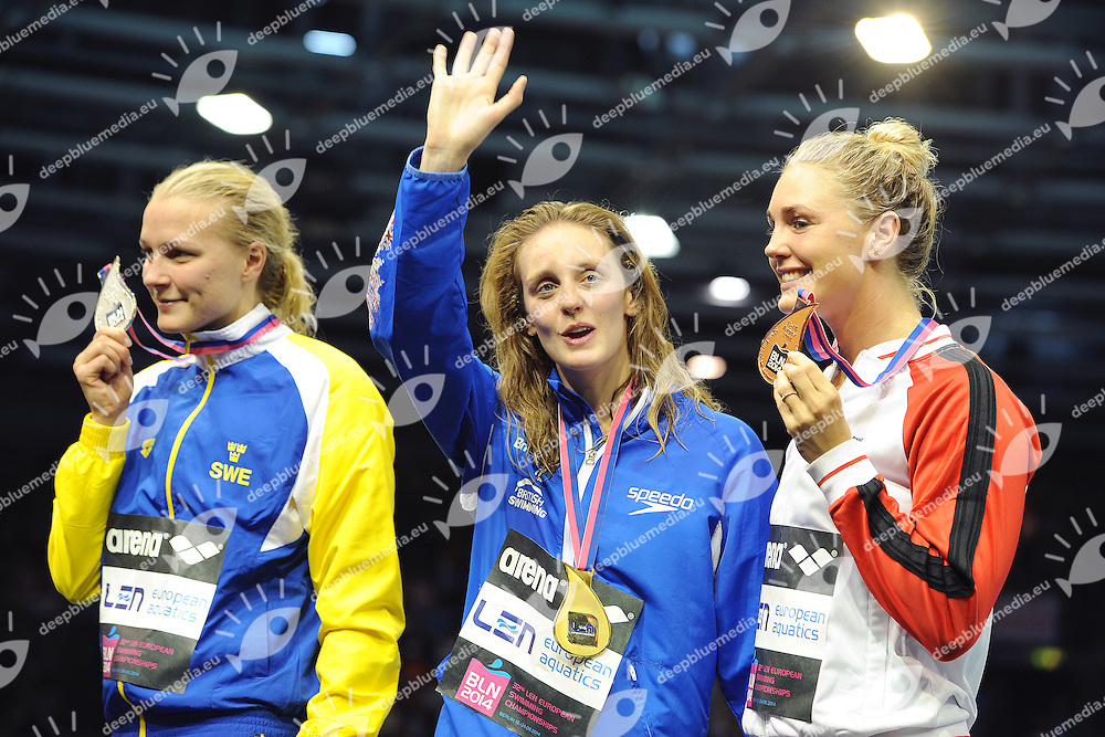 Sarah Sjoestroem Sweden Silver Medal, Francesca Halsall Great Britain Gold Medal, Jeanette Ottesen Denmark Bronze Medal <br /> Swimming <br /> 32nd LEN European Championships  <br /> Berlin, Germany 2014  Aug.13 th - Aug. 24 th<br /> Day12 - Aug. 24<br /> Photo Andrea Staccioli/Deepbluemedia/Insidefoto