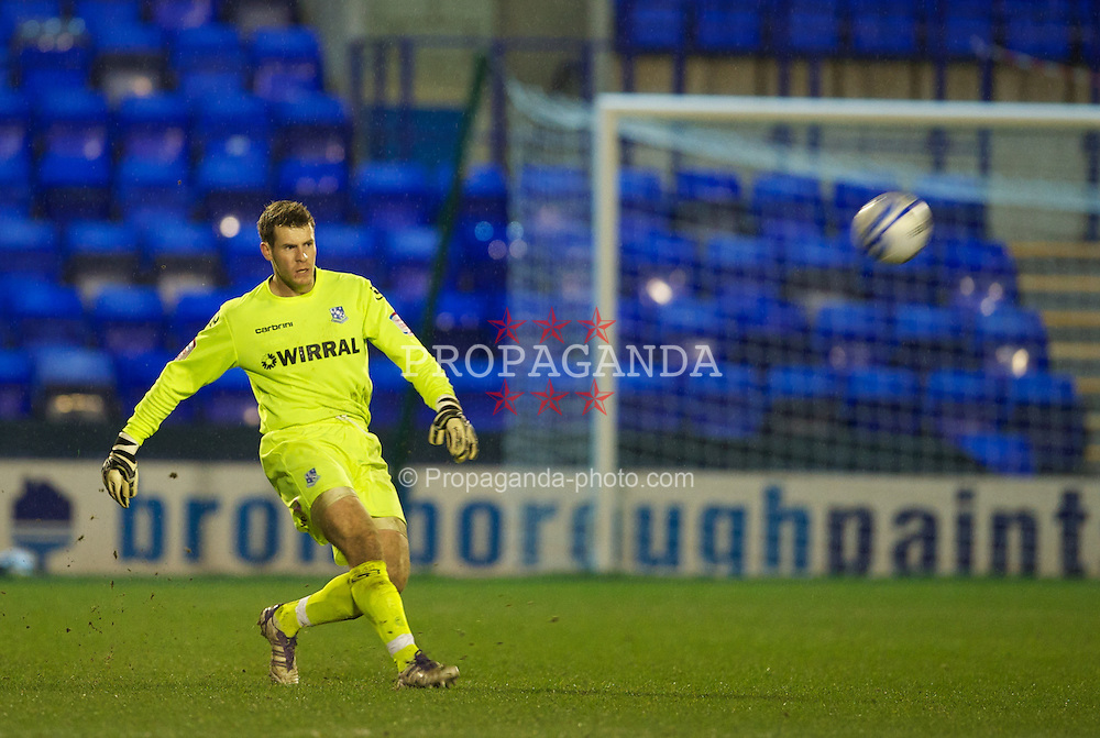 BIRKENHEAD, ENGLAND - Tuesday, March 6, 2012: Tranmere Rovers' goalkeeper Owain Fon Williams in action against Notts County during the Football League One match at Prenton Park. (Pic by David Rawcliffe/Propaganda)