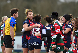 Phoebe Murray of Bristol Bears Women celebrates her try with team-mate Amber Reed - Mandatory by-line: Paul Knight/JMP - 11/01/2020 - RUGBY - Shaftesbury Park - Bristol, England - Bristol Bears Women v Firwood Waterloo Women - Tyrrells Premier 15s