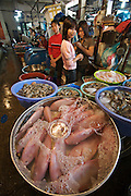 Hom Market. Live fish and shrimps.