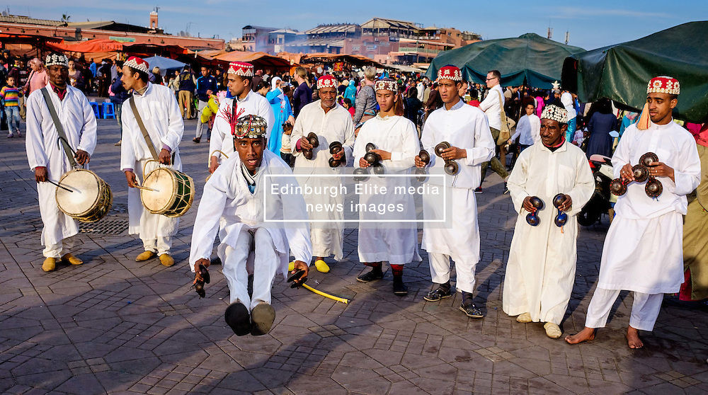 Men playing drums and performing a traditional dance in the Jemaa el Fna, Marrakech, Morocco, North Africa<br /> <br /> (c) Andrew Wilson   Edinburgh Elite media