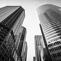 Chicago buildings in black and white looking up to the sky from a low angle view