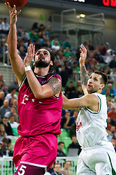 Dirk Modrich of Telekom Baskets Bonn and Ronalds Zakis of Union Olimpija during basketball match between KK Union Olimpija Ljubljana and Telekom Baskets Bonn (GER) in Round 3 of EuroCup 2015/16, on October 28, 2015 in Arena Stozice, Ljubljana, Slovenia. Photo by Matic Klansek Velej / Sportida.com