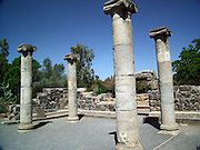 The ruins of the ancient synagogue in Katzrin built in the 4th-5th centuries. The ruins of the ancient Jewish village of Katzrin are located in the central Golan, some 13 km. northeast of the Sea of Galilee.
