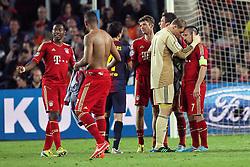 01.05.2013, Camp Nou, Barcelona, ESP, UEFA CL, FC Barcelona vs FC Bayern Muenchen, Halbfinale, Rueckspiel, im Bild Freude bei von links David ALABA #27 (FC Bayern Muenchen), Jerome BOATENG #17 (FC Bayern Muenchen), Thomas MUELLER #25 (FC Bayern Muenchen), Manuel NEUER #1 (FC Bayern Muenchen) und Franck RIBERY #7 (FC Bayern Muenchen), // during the UEFA Champions League 2nd Leg Semifinal Match between Barcelona FC and FC Bayern Munich at the Camp Nou, Barcelona, Spain on 2013/05/01. EXPA Pictures © 2013, PhotoCredit: EXPA/ Eibner/ Christian Kolbert..***** ATTENTION - OUT OF GER *****