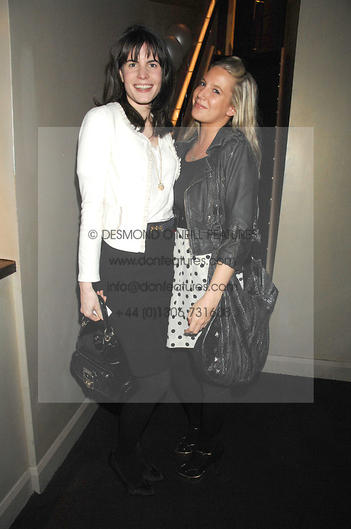 LADY LAURA CATHCART and ALICE DAWSON at a party to celebrate the 1st birthday of nightclub Kitts, 7-12 Sloane Square, London on 5th March 2008.<br />
