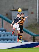 Alloa Athletic's Kevin Cawley and Dundee&rsquo;s Brian Rice compete in the air - Dundee under 20s v Alloa Athletic in the Irn Bru Cup Round 1 at Dens Park, Dundee - photograph by David Young<br /> <br />  - &copy; David Young - www.davidyoungphoto.co.uk - email: davidyoungphoto@gmail.com