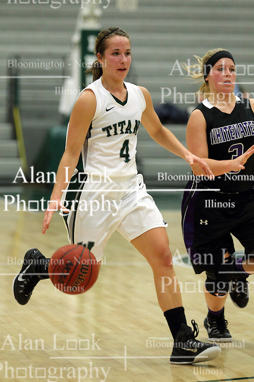 25 November 2014:  Rebekah Ehresman and Reilly Stewart during an NCAA women's division 3 CCIW basketball game between the Wisconsin Whitewater Warhawks and the Illinois Wesleyan Titans in Shirk Center, Bloomington IL