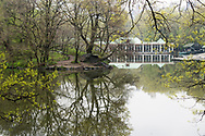 A misty view of the Boathouse restaurant at the Lake in Central Park.