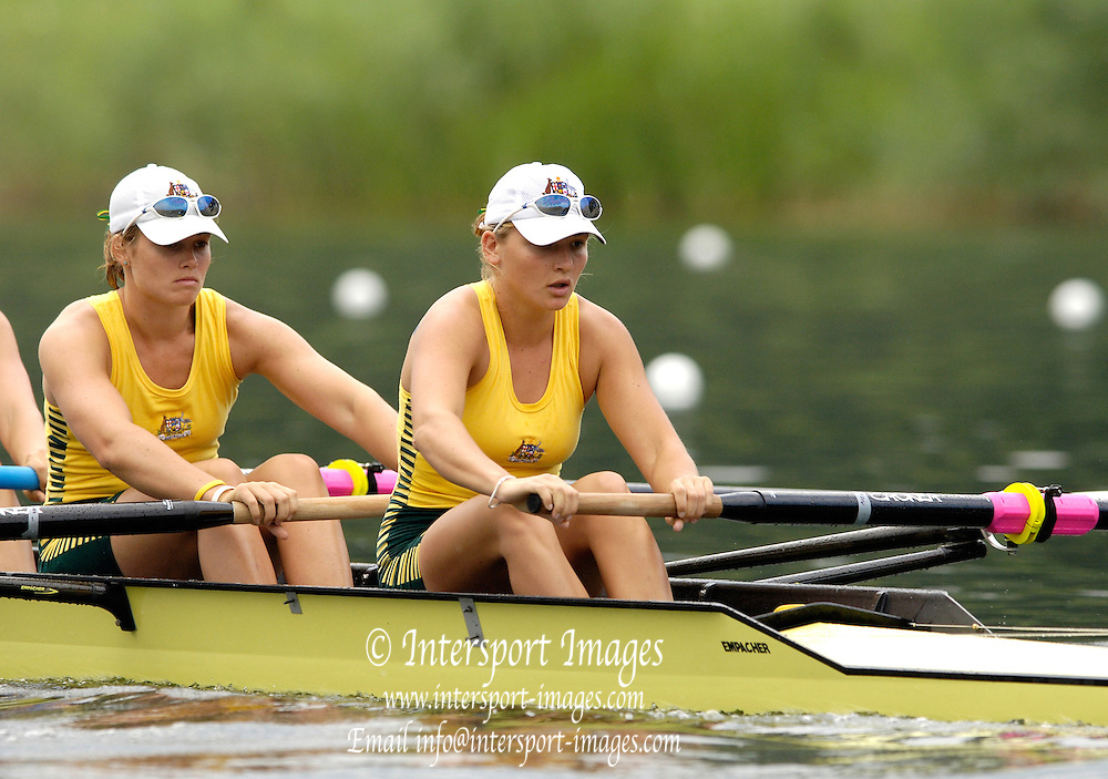 2006, U23 Rowing Championships, Hazewinkel, BELGIUM Thursday, 20.07.2006. AUS BW4- left, Charlotte WALTERS and Renne KIRBY, Photo  Peter Spurrier/Intersport Images email images@intersport-images.com....[Mandatory Credit Peter Spurrier/ Intersport Images] Rowing Course, Bloso, Hazewinkel. BELGUIM