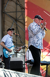 27 April 2012. New Orleans, Louisiana,  USA. .New Orleans Jazz and Heritage Festival. .The Beach Boys take to the stage to kick off their 50th anniversary tour. Mike Love (rt) and David Marks on stage..Photo; Charlie Varley.