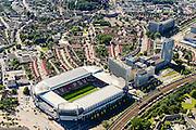Nederland, Noord-Brabant, Eindhoven, 23-08-2016; stadsdeel Strijp. Philips Stadion van PSV en Philipsdorp.<br /> Philips PSV Stadium with Philips village.<br /> luchtfoto (toeslag op standard tarieven);<br /> aerial photo (additional fee required);<br /> copyright foto/photo Siebe Swart