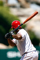 5 May 2007:  MLB Angels at Angel Stadium.  Left handed player at bat. Baseball details.  Red helmet.