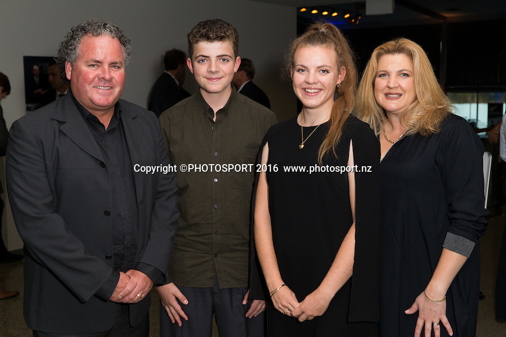 Glen, Cullen, Holly and Katrina White at the High Performance Sport NZ Waikato ceremony for the Prime Minister's Scholarship Awards, at Sir Don Rowlands Centre, Lake Karapiro, Cambridge, New Zealand, 20 April 2016. Copyright Photo: Stephen Barker / www.photosport.nz