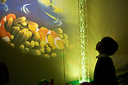 A young boy looks up in wonder at the wall of the sensory room.