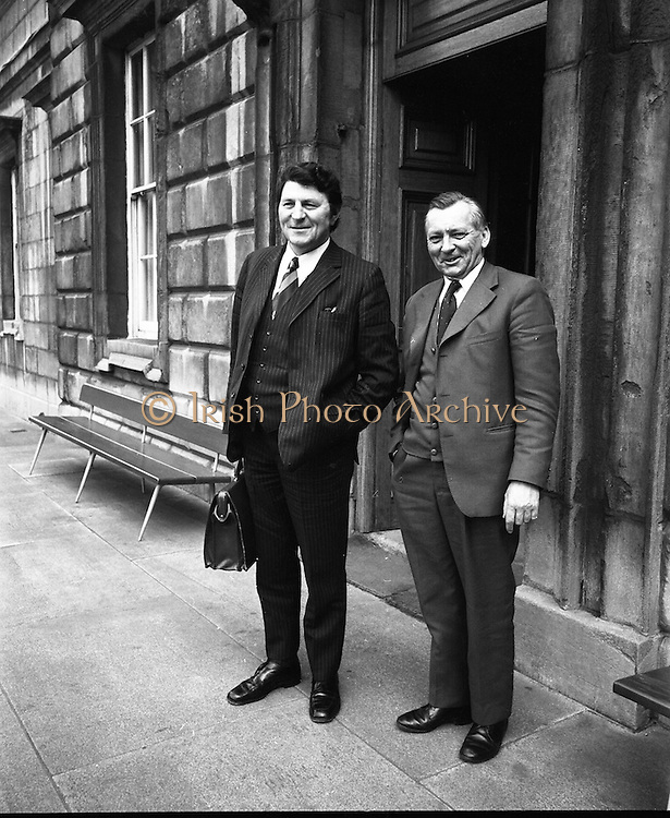 Dail Reassembles at Leinster House..1973..28.03.1973..03.28.1973..28th March 1973..After the recent general election The Dail resumed today at Leinster House,Dublin..Mr Jerry Cronin TD,former Minister for Defence,and Senator O'Ceallaigh pose for pictures before entering government buildings to start work.