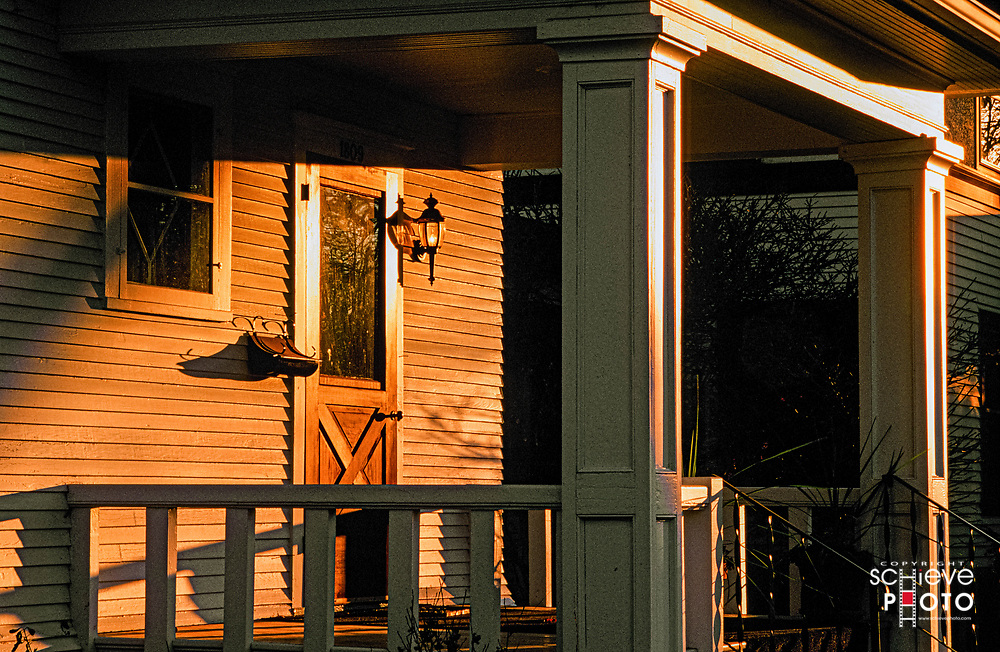 Front porch in late afternoon sun.