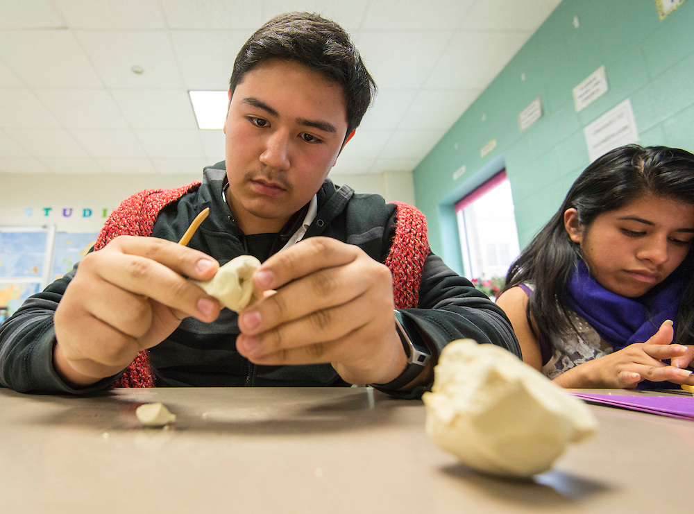 Students participate in a facial reconstruction workshop during a Science, Technology, Engineering and Math (STEM) symposium at Chavez High School, November 15, 2014.