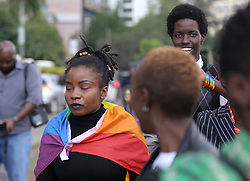 May 24, 2019 - Nairobi, Kenya - Members of the Lesbian, Gay, Bisexual and Transgender  (LGBT) seen reacting after Kenya's High Court ruled to uphold the British-era penal code that criminalises gay sex..LGBT community wanted the court to decriminalize consensual same sex but Judges Chacha Mwita, Roselyne Aburili and John Mativo in a unanimous decision declined. (Credit Image: © Billy Mutai/SOPA Images via ZUMA Wire)