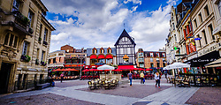 Street scene with lots of cafes and restaurants in the centre of the town of Saint-Quentin, France<br /> <br /> (c) Andrew Wilson | Edinburgh Elite media